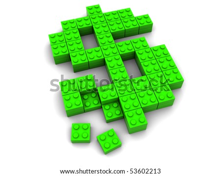 3d illustration of dollar sign builded from blocks, over white background - stock photo