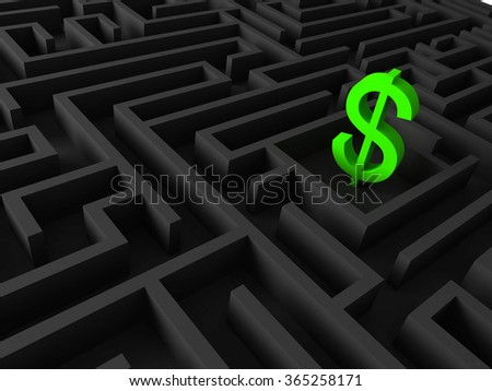 3d illustration of dollar sing in a maze
