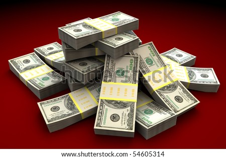 3d illustration of dollars heap over dark red background - stock photo