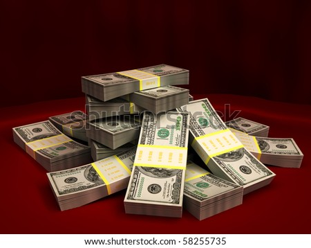3d illustration of dollars stack over red colors background - stock photo