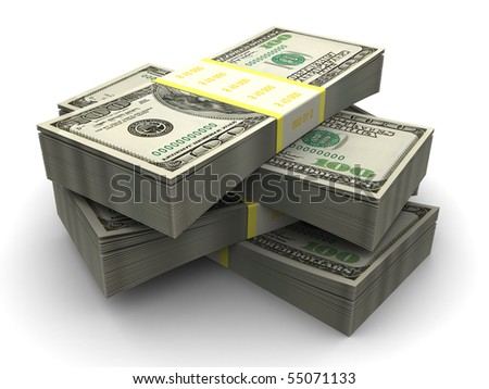 3d illustration of dollars stack over white background