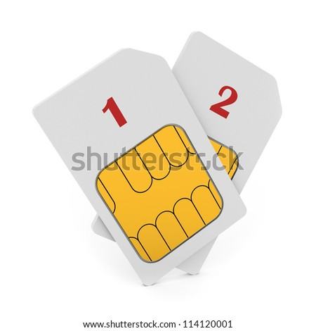 3d illustration of double phone SIM cards isolated - stock photo
