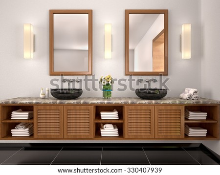 3d illustration of double sink in the bathroom Mediterranean-sty - stock photo