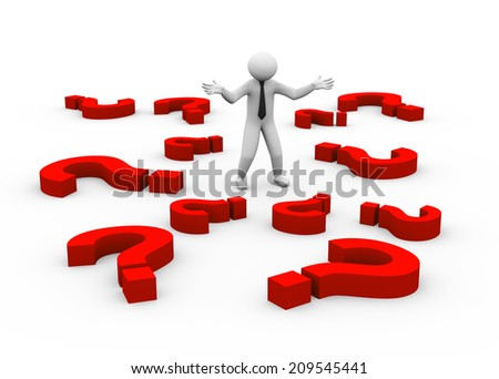 3d illustration of doubtful man standing between question marks. 3d human person character and white people