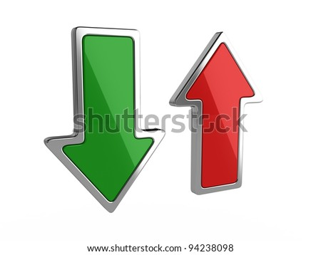 3d illustration of download and upload arrows on white background - stock photo