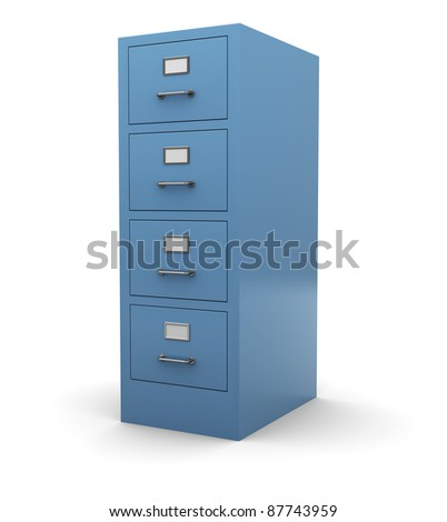 3d illustration of drawer cabinet over white background