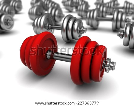 3d illustration of dumbells with one red - stock photo