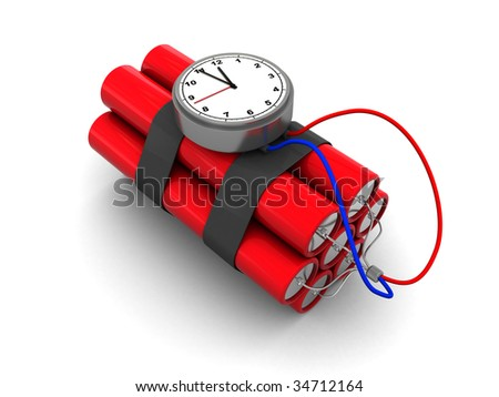 3d illustration of dynamite with clock timer over white background