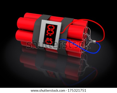 3d illustration of dynamite with timer, over black background - stock photo