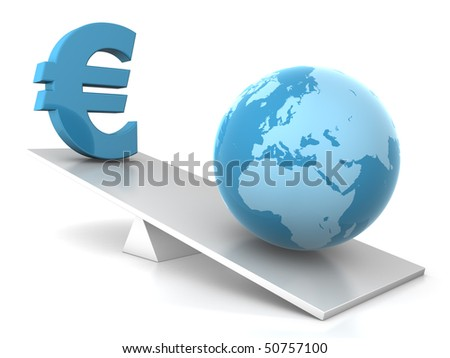 3d illustration of earth and euro seesaw - financial concept