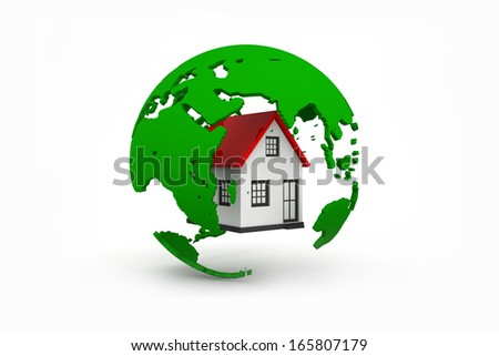 3D illustration of earth and home. Isolated on white background. - stock photo