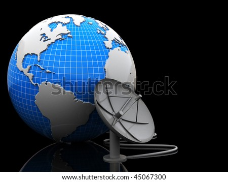 3d illustration of earth and satellite antenna over black background - stock photo