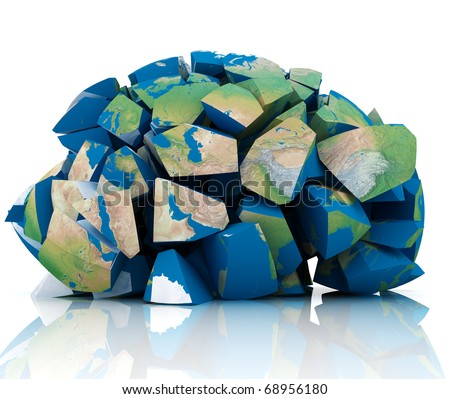 3d illustration of earth destroyed to peaces - stock photo