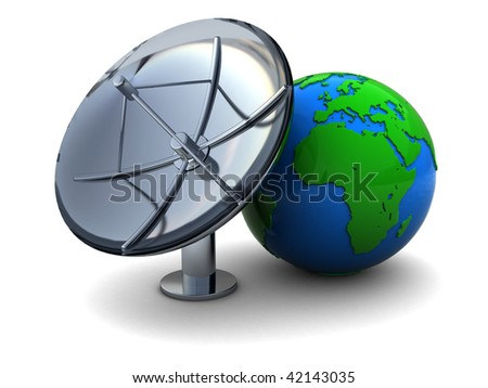 3d illustration of earth globe and radio aerial antenna