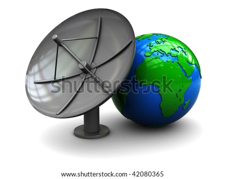 3d illustration of earth globe and satellite antenna, over white background - stock photo