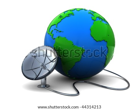 3d illustration of earth globe and satellite antenna over white background - stock photo