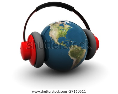 3d illustration of earth globe in headphones over white background - stock photo