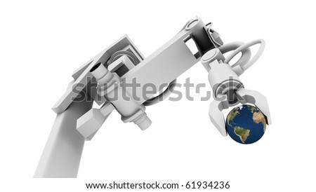 3D Illustration of Earth globe in the grip of a robot's claw. - stock photo