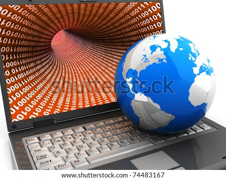 3d illustration of earth globe on laptop computer keyboard