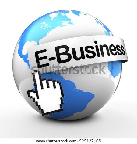 3d illustration of Earth globe on white back  with e-business text on white banner