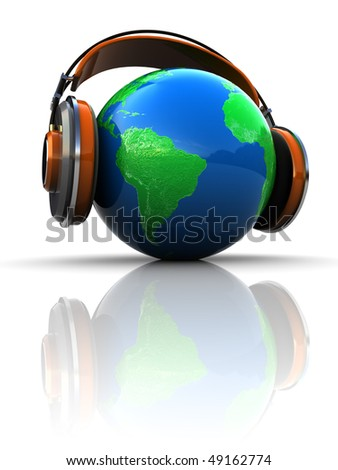 3d illustration of earth globe with headphones, global broadcasting concept - stock photo