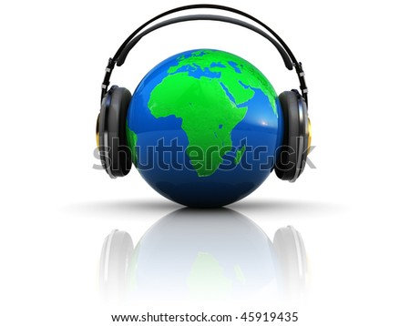 3d illustration of earth globe with headphones, over white background