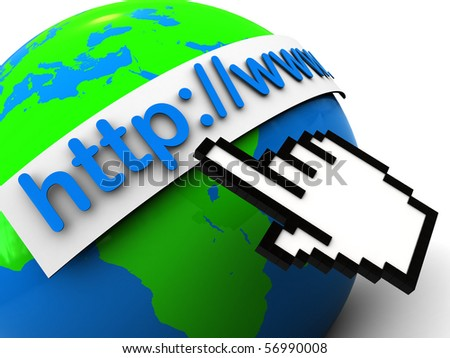 3d illustration of earth globe with internet address, over white background - stock photo
