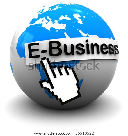 3d illustration of earth globe with internet business sign, over white background - stock photo