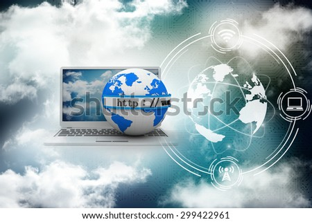 3d illustration of earth globe with laptop