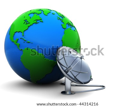 3d illustration of earth globe with radio-aerial connected - stock photo