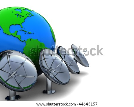 3d illustration of earth globe with radio aerials row - stock photo
