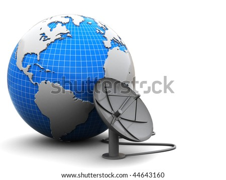 3d illustration of earth globe with satellite antenna