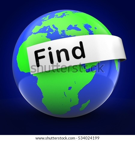 3d illustration of Earth over blue background  with find text on white banner