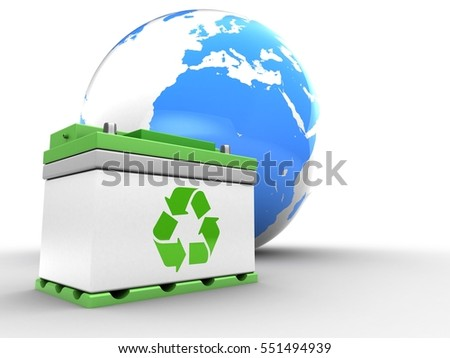 3d illustration of earth over white background with car battery