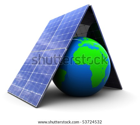 3d illustration of earth protected by solar energy panels - stock photo