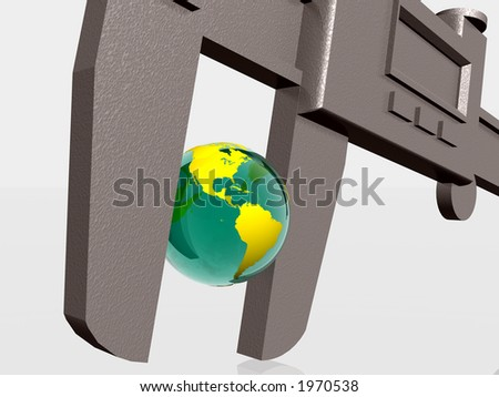 3d illustration of Earth squeezed with a calipers, natural sources, business, measurement concept. Clipping path.