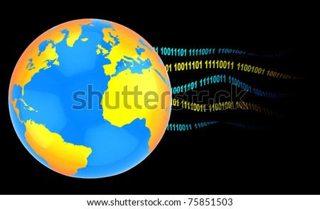 3d illustration of earth with binary code, internet concept