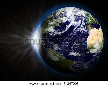 3D Illustration of Earth with Rising Sun - stock photo