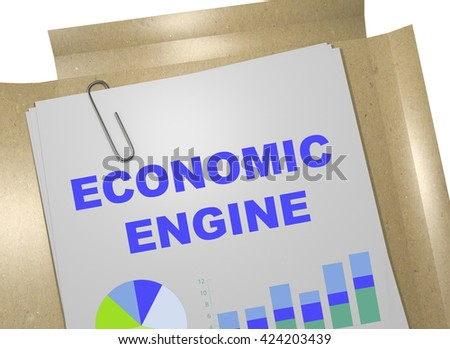 "3D illustration of ""ECONOMIC ENGINE"" title on business document. Business concept. - stock photo"