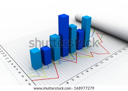 3D illustration of economic graph.