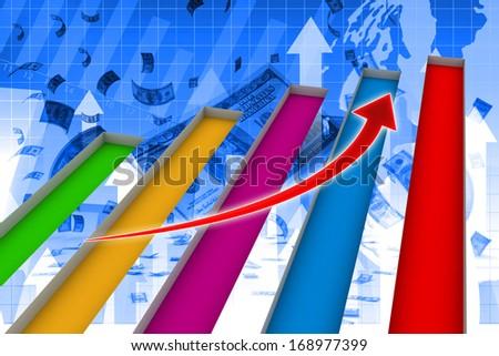 3D illustration of economic graph. - stock photo