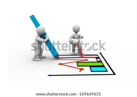 3D illustration of economical graph. Two 3D people drawing a graph.