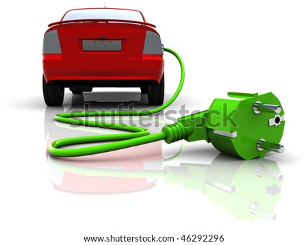 3d illustration of electric car, over white background - stock photo