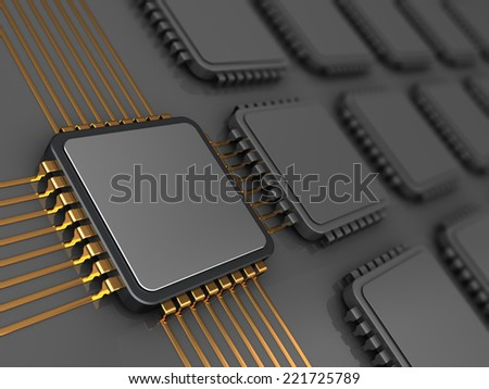 3d illustration of electronic board and main chip, gray colors - stock photo
