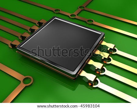 3d illustration of electronic chip and circuit with green background