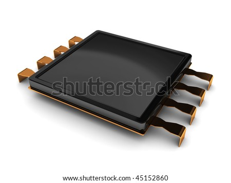 3d illustration of electronic chip over white background - stock photo