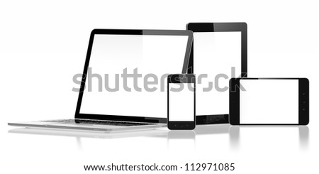 3D illustration of electronic devices isolated on white - stock photo