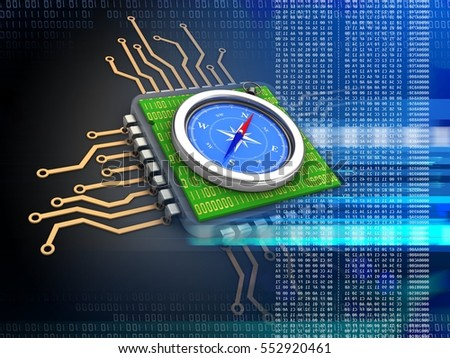 3d illustration of electronic microprocessor over black background with compass and with code inside
