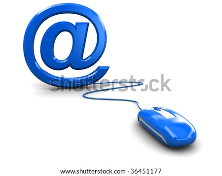 3d illustration of email symbol and computer mouse over white background