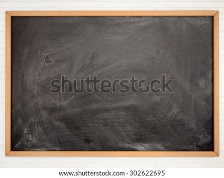 3d illustration of empty black school Board - stock photo